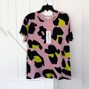 WILDFOX Jumbo Leopard Manchester Tee in Rose